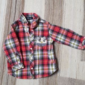 Flannel snap down shirt with owl pocket,  90 or 18